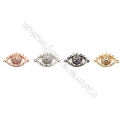 Brass Connectors, (Gold, Platinum, Rose Gold, Gun Black) Plated, CZ Micropave, Eye, Size 14x22mm, Hole 1mm, 8pcs/pack