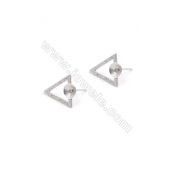 Triangular platinum plated 925 silver ear stud findings with zircon  fit for half drilled beads  13x16mm  x 1pair