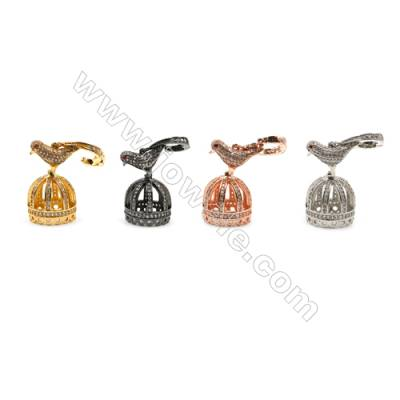 Brass Pendants  (Gold Platinum Rose Gold Gun Black) Plated  CZ Micropave  Size 16x26mm  4pcs/pack