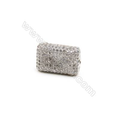 Brass Beads, (Platinum)Plated, CZ Micropave, Size 11x18mm, Hole 1.5mm, 3pcs/pack