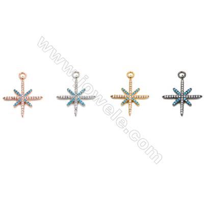 Brass Pendants  (Gold Platinum Rose Gold Gun Black) Plated  CZ Micropave  Neve Size 23x25mm  9pcs/pack