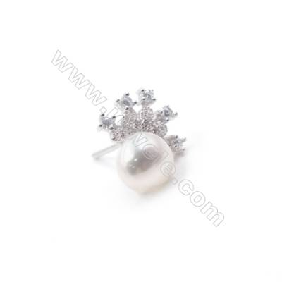 Wholesale crown platinum plated 925 silver zicon micro pave ear stud findings for half drilled beads jewelry making 10x11mm x 1p