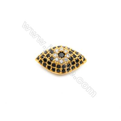 Brass Plated Gold Beads, CZ Micropave, Size 10x17mm, Hole 1.5mm, 5pcs/pack