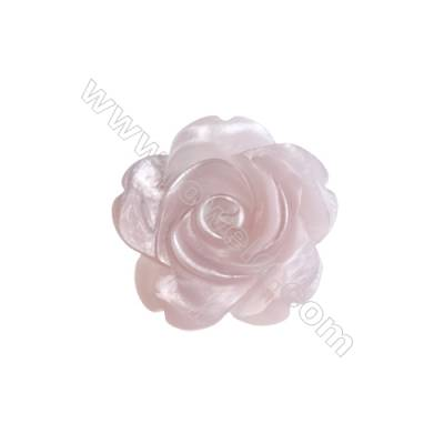 Romantic pink rose shell mother-of-pearl, 20mm, hole 1mm, 10pcs/pack