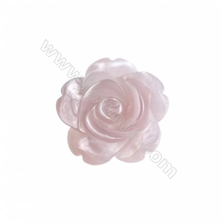 Romantic pink rose shell mother-of-pearl,20mm, hole 1mm, 10pcs/pack