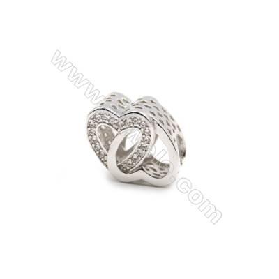 Brass Plated Platinum Charms  CZ Micropave  Heart  Size 8x16mm  10pcs/pack