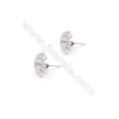 Wholesale hollow leaf platinum plated 925 silver zircon ear stud findings for half drilled beads jewelry making 11mm x 1pair