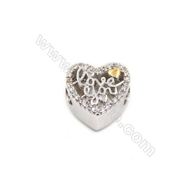 Brass Plated Platinum Charms  CZ Micropave  Heart  Size 12x12mm  Thick 13mm  6pcs/pack
