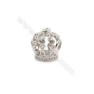 Brass Plated Platinum Charms  CZ Micropave  Crown  Size 13x12mm  10pcs/pack