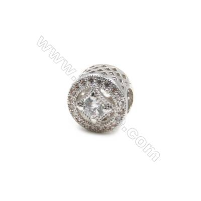 Brass Plated Platinum Charms  CZ Micropave  Cylindrical  Size 11x10mm  10pcs/pack