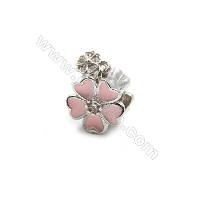 Brass Plated Platinum Charms  CZ Micropave  Flower  Size 10x10mm 10pcs/pack