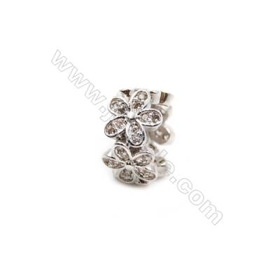 Brass Plated Platinum Spacer Beads CZ Micropave Flower  Diameter 10mm  Hole 4.7mm 8pcs/pack