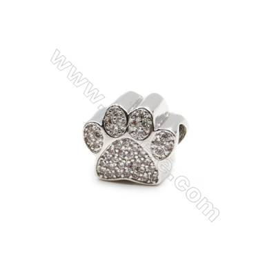 Brass Plated Platinum Charms  CZ Micropave  Cat Claw  Size 10x12mm  Thick 9mm  6pcs/pack