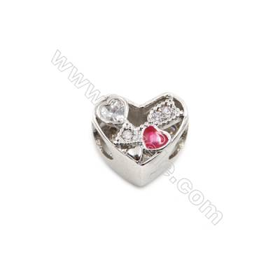 Brass Plated Platinum Charms  CZ Micropave  Heart  Size 10x13mm  Thick 13mm  10pcs/pack