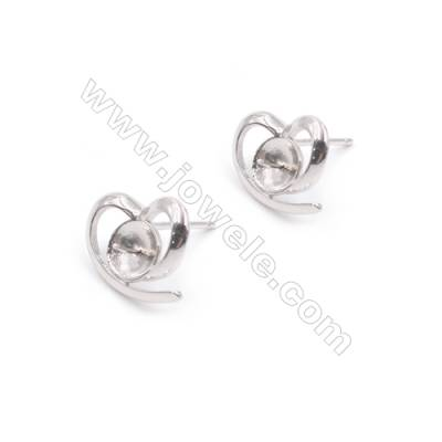 Heart shape platinum plated 925 silver zircon micro pave ear stud findings for half drilled beads-E2844 11x13mm x 1pair