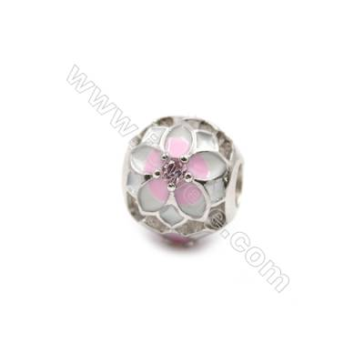 Brass Plated Platinum Grand Hole Charms  CZ Micropave  Flower  Diameter 12mm  Hole 4.4mm  8pcs/pack