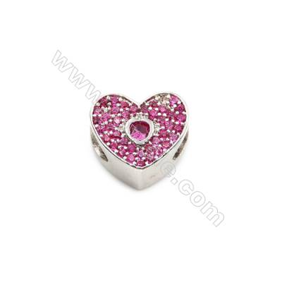Brass Plated Platinum Grand Hole Charms  CZ Micropave  Heart  Size 10x12mm  Thick 8mm  5pcs/pack