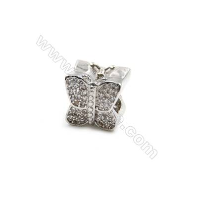 Brass Plated Platinum Charms  CZ Micropave  Butterfly  Size 9x10mm  Thick 9mm  5pcs/pack