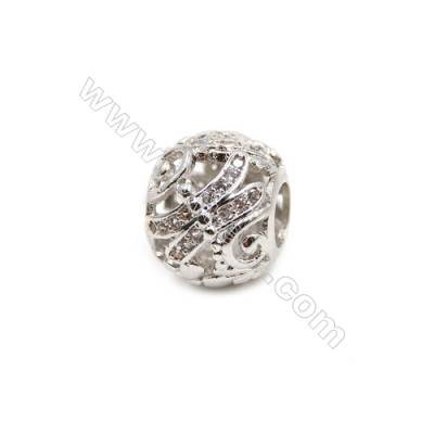 Brass Plated Platinum Charms  CZ Micropave  Lantern  Size 10x12mm  5pcs/pack