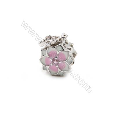 Brass Plated Platinum Grand Hole Charms  CZ Micropave  Flower  Size 10x10mm  Hole 4.4mm  7pcs/pack