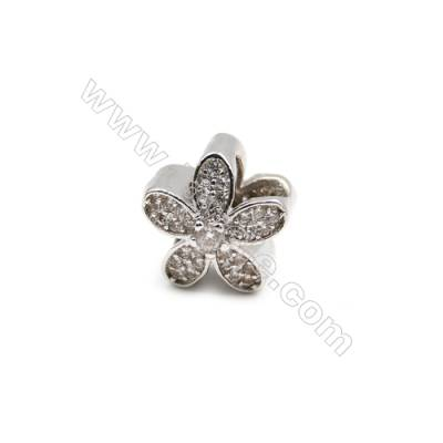 Brass Plated Platinum Grand Hole Charms  CZ Micropave  Flower  Size 11x11mm  Hole 5mm  7pcs/pack