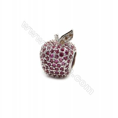 Brass Plated Platinum Grand Hole Charms  CZ Micropave  Apple  Size 10x15mm  Hole 5.6mm  3pcs/pack