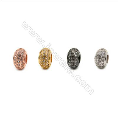 Brass Plated Platinum Charms  CZ Micropave  Ring  Diameter 12.6mm  Hole 5.7mm  8pcs/pack