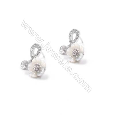 wholesale platinum filled 925 silver floral zicon ear stud findings for half drilled beads jewelry making 11x15mm x 1pair