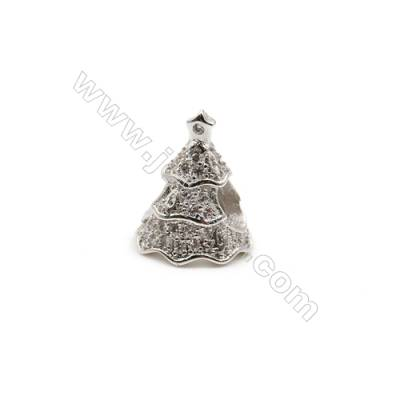 Brass Plated Platinum Charms  CZ Micropave  Christmas tree  Size 11x13mm  Hole 4.5mm  8pcs/pack