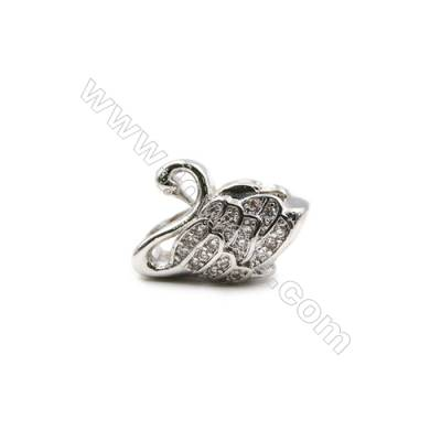 Brass Plated Platinum Charms  CZ Micropave  Swan  Size 9x14mm  Hole 4.5mm  9pcs/pack