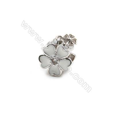 Brass Plated Platinum Grand Hole Charms  CZ Micropave  Flower  Size 11x11mm  Hole 4.3mm  7pcs/pack