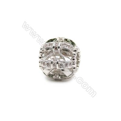 Brass Plated Platinum Grand Hole Charms  CZ Micropave  Round  Diameter 12.5mm  Hole 5mm  8pcs/pack