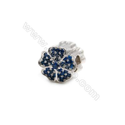 Brass Plated Platinum Grand Hole Charms  CZ Micropave  Flower  Size 11x11mm  Hole 4.5mm  4pcs/pack