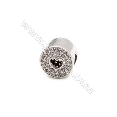 Brass Plated Platinum Grand Hole Charms  CZ Micropave  Cylindrical  Diameter 11mm  Hole 4.5mm  6pcs/pack
