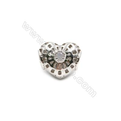 Brass Plated Platinum Grand Hole Charms  CZ Micropave  Heart  Size 11x13mm  Hole 4.4mm  11pcs/pack