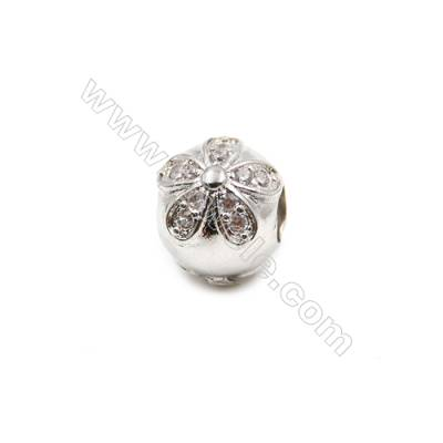 Brass Plated Platinum Grand Hole Charms  CZ Micropave  Size 9x11mm  15pcs/pack