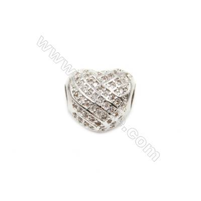 Brass Plated Platinum Grand Hole Charms  CZ Micropave  Heart  Size 11x13mm  Thick 10mm  5pcs/pack