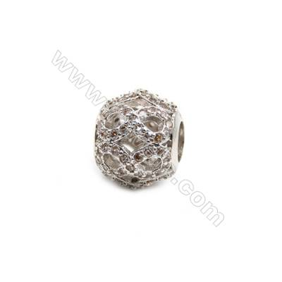 Brass Plated Platinum Grand Hole Charms  CZ Micropave  Round  Size 9x10mm  5pcs/pack