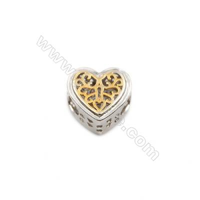 Brass Plated Platinum Grand Hole Charms  CZ Micropave  Heart  Size 11x11mm  Thick 7mm  10pcs/pack