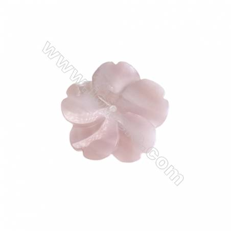 Romantic pink rose shell mother-of-pearl 20mm  hole 1mm   10pcs/pack