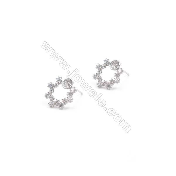Women's jewelry platinum plated 925 silver zircon micro pave flower hoop Ear Stud Findings for half drilled beads  13mm x 1pair