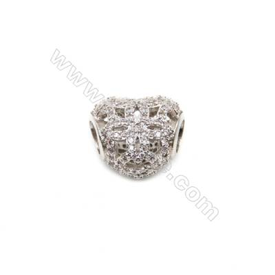 Brass Plated Platinum Grand Hole Charms  CZ Micropave  Heart  Size 11x13mm  Thick 9mm  5pcs/pack