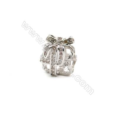 Brass Plated Platinum Grand Hole Charms  CZ Micropave  Gift box  Size 11x12mm  Thick 11mm  6pcs/pack