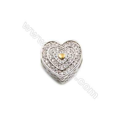 Brass Plated Platinum Grand Hole Charms  CZ Micropave  Heart  Size 11x12mm  Thick 9mm  6pcs/pack