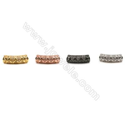 Brass Grand Hole Charms (Gold Platinum Rose Gold Gun Black)Plated  CZ Micropave  Tube  Size 6x9mm  15pcs/pack