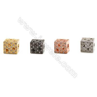 Brass Grand Hole Charms  (Gold Platinum Rose Gold Gun Black)Plated  CZ Micropave  Rectangle  Size 8x9mm  Thick 8mm 10pcs/pack
