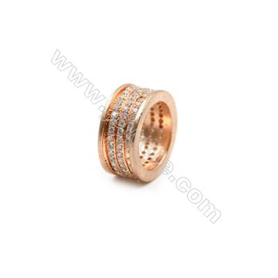 Brass Grand Hole Beads, CZ Micropave, Rose Gold, Size7x15mm, Hole 10mm, 5pcs/pack