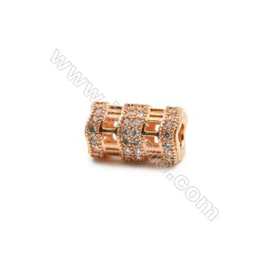 Brass Grand Hole Beads, CZ Micropave, Rose Gold, Size 8x11mm, Hole 3mm, 10pcs/pack
