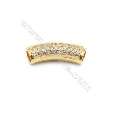 Brass Grand Hole Beads, CZ Micropave, Gold, Size 8x24mm, Hole 3mm, 8pcs/pack