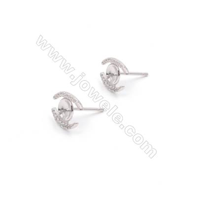Eyebrow design sterling silver  platinum plated  zircon earring stud for half drilled beads-E2874 10x12mm x1pair